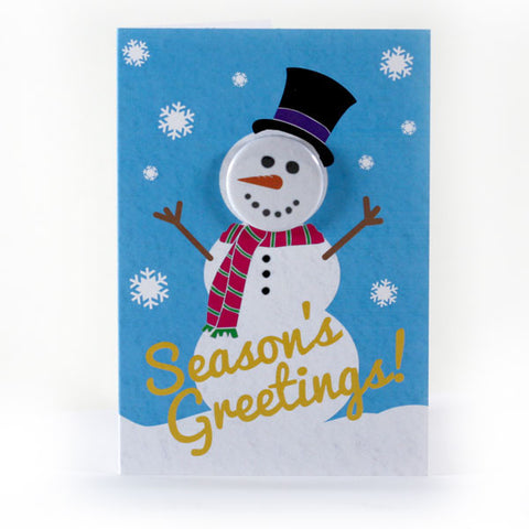 Snowy Season's Greetings - Button Greeting Card