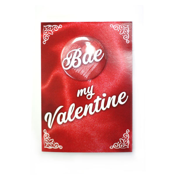 Valentine's Day Bae Button Greeting Card