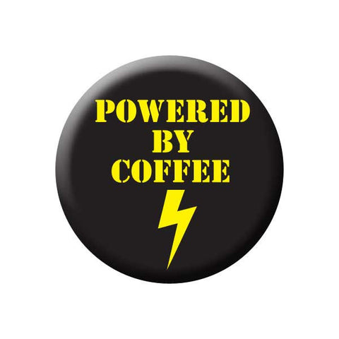 Powered By Coffee, Lightning Bolt, Yellow, Black, Coffee Buttons Collection from People Power Press