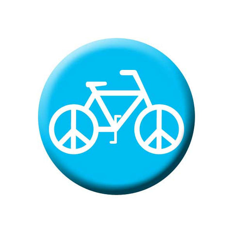 Peace on Wheels, Blue, Bicycle Buttons Collection from People Power Press,
