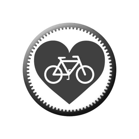 Bicycle Gear Heart, Grey, Bicycle Buttons Collection from People Power Press