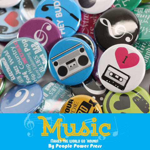 Music Record Store Buttons Collection from People Power Press