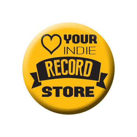 Love Your Indie Record Store, Heart, Yellow, Music Record Store Buttons Collection from People Power Press