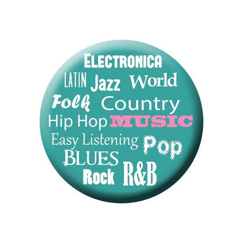 Music Genres, Electronica, Latin, Jazz, World, Hip Hop, Country, Easy Listening, Pop, Blues,  Rock, R&B, Teal, Music Record Store Buttons Collection from People Power Press