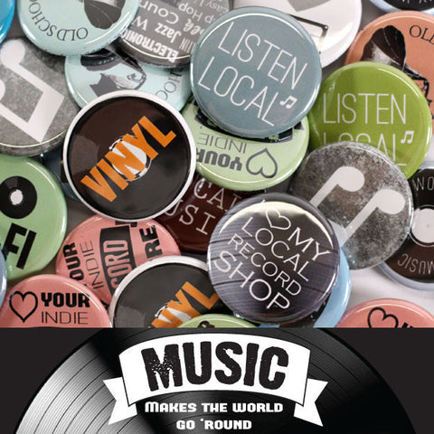 Music Makes the World Go Round (Neutrals) Buttons