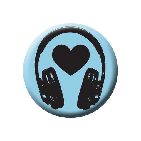 Music Headphones, Heart, Blue, Music Record Store Buttons Collection from People Power Press