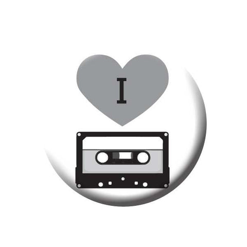 I Love Tapes, Heart, Black and Grey, Music Record Store Buttons Collection from People Power Press