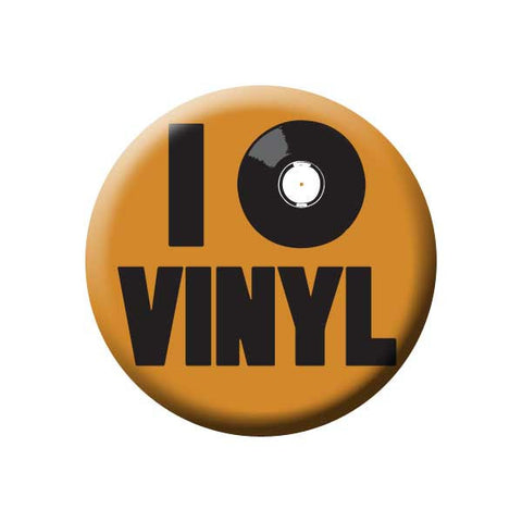 I Love Vinyl, Record, Orange, Music Record Store Buttons Collection from People Power Press