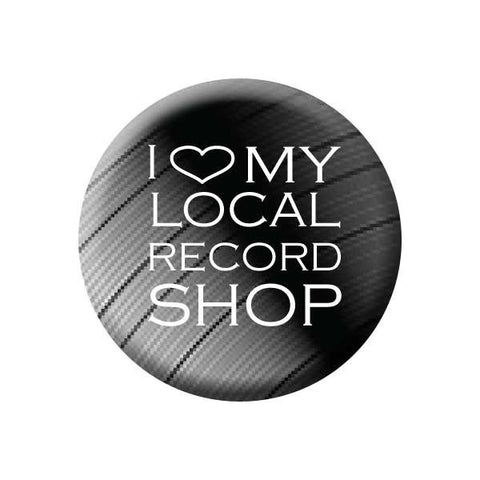 I Love My Local Record Shop, Heart, Vinyl Record, Black, Music Record Store Buttons Collection from People Power Press