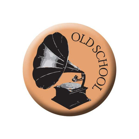 Old School, Gramophone, Peach, Music Record Store Buttons Collection from People Power Press