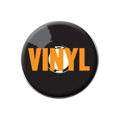 Vinyl Record, Orange, Music Record Store Buttons Collection from People Power Press