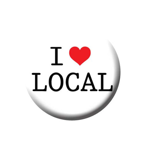 I Heart Local, I Love Local, Shop Local Buttons Collection from People Power Press