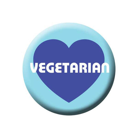 People Power Press Vegetarian and Vegan Button Vegetarian Blue