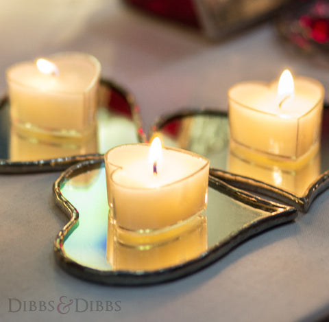 The Mirrored Heart Tealight Stands