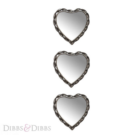 Small Heart Mirrors x3