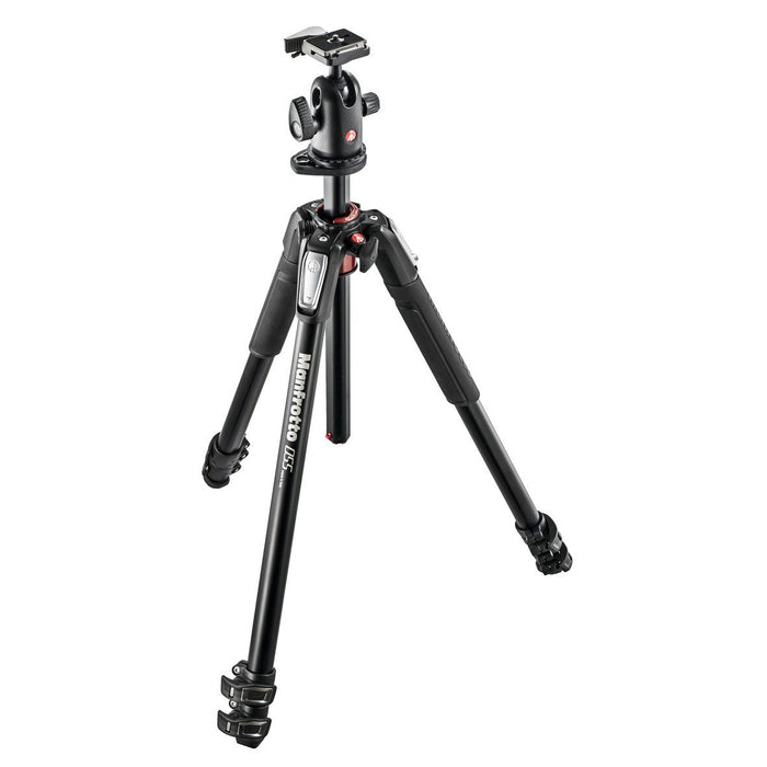 Manfrotto MK 055XPRO3-BH, alu 3-section horizontal column tripod + 498RC2 ball head set Tripods Manfrotto