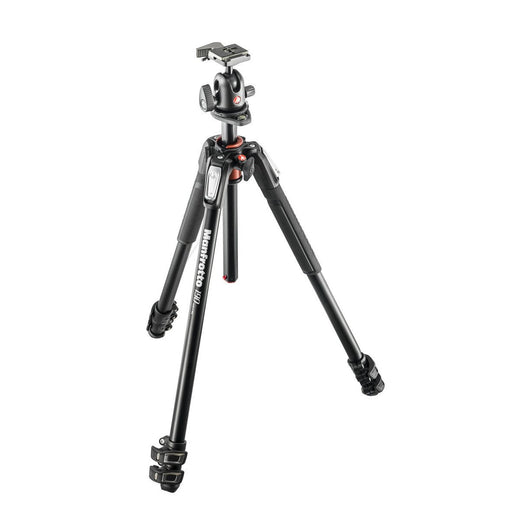Tripods - Manfrotto MK 190XPRO3-BH, Alu 3-section Horizontal Column Tripod + 496RC2 Ball Head Set