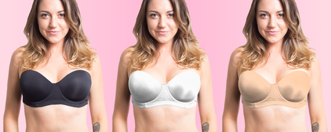 Ava bra in black, white, and beige