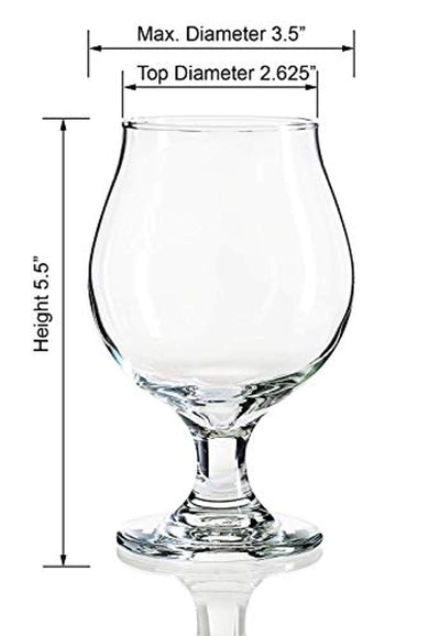 Libbey beer glass in form of stemmed tulip with coasters (13 ounces)