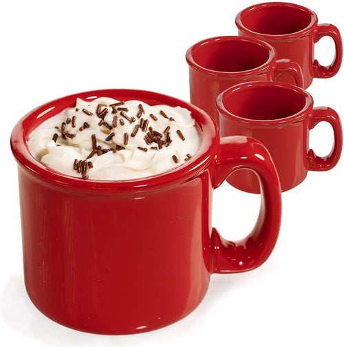 Cozy Red Coffee Mug with Coasters - Ceramic