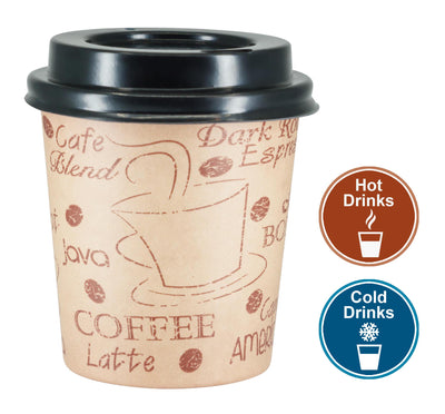 4 oz. Disposable Espresso Paper Hot Cups with Black Lids - 50 sets - Print - Small Portion Sample Shots with Coffee Stencil