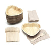 25 heart shaped palm leaf plates with forks and napkins