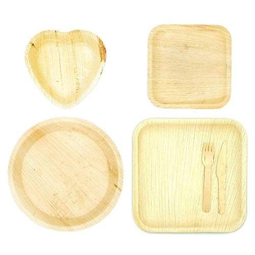 Eco-friendly dinnerware sample with heart-shaped and palm leaf  plates