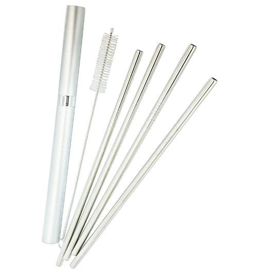 Reusable Metal Drinking Straws - Set of 4, Stainless Steel - with Aluminium Case, Cleaning Brush, Silicone Tips