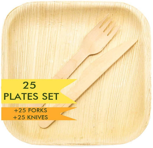 "Holiday party 8"" palm leaf plates & utensils in form of 75 piece set"