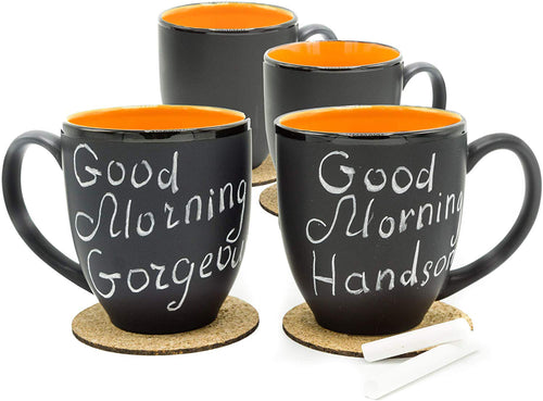 14 Oz. Ceramic Bistro Coffee Mug, Set of 4 Orange