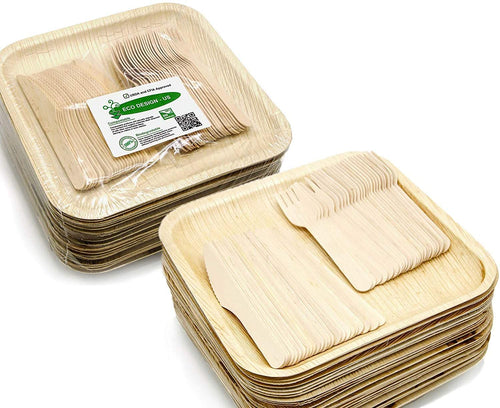 "Party set of 150 eco-friendly 10"" compostable palm leaf plates & utensils"