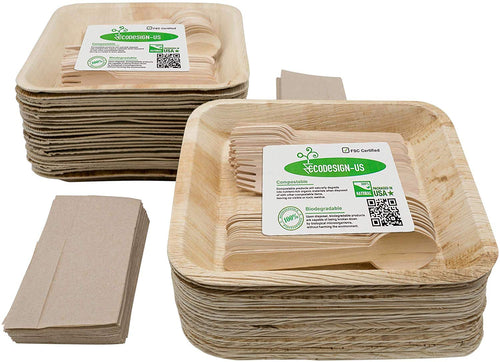 "Eco-Friendly Disposable Dinnerware: 50 Deep 9.5"" Palm Leaf Plates, 50 Wooden Forks&Spoons, Unbleached Tissues"