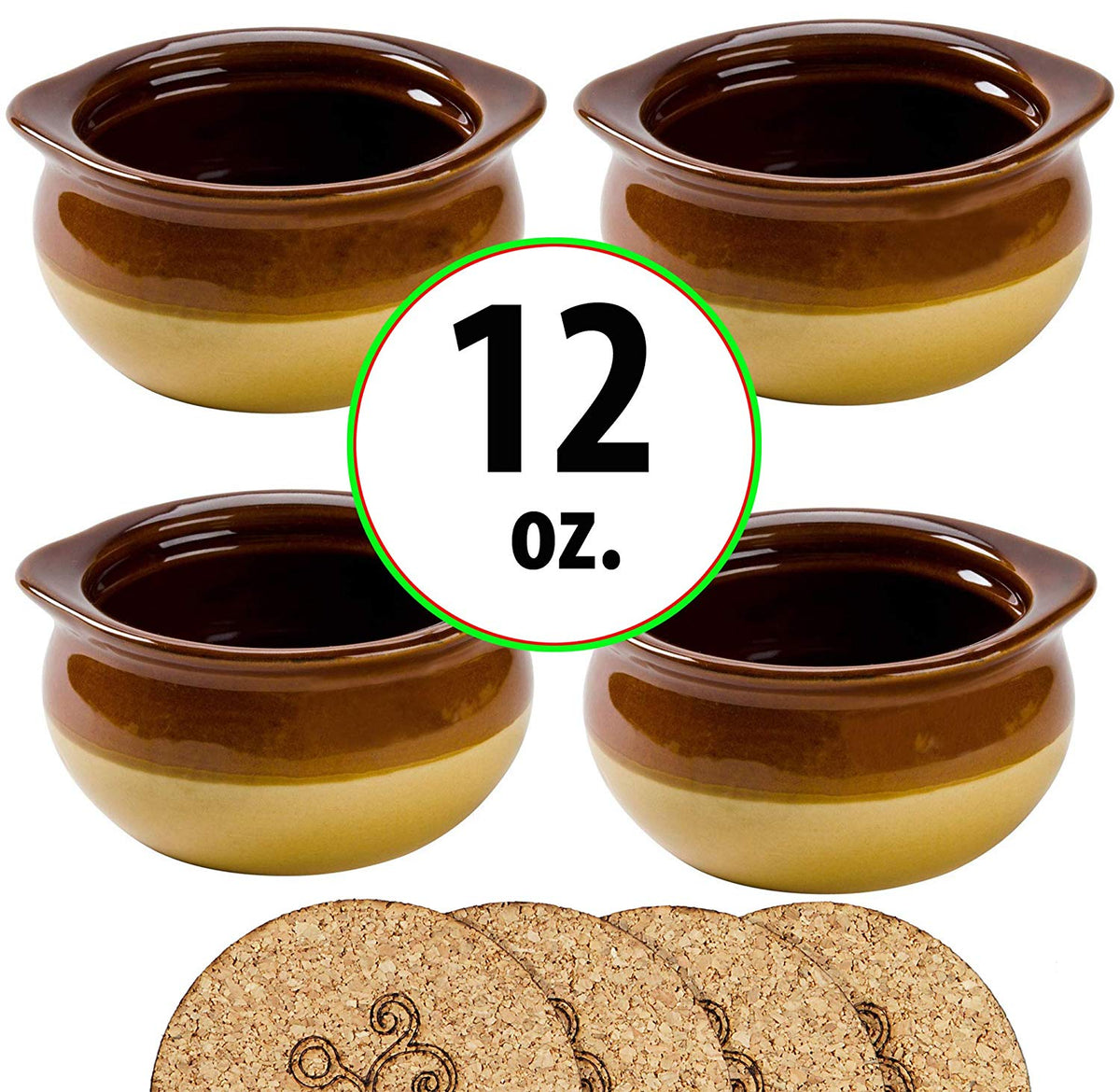 12 Ounce Onion Soup Bowls - Brown and Ivory - Set of 4 Crocks with Cork Coasters