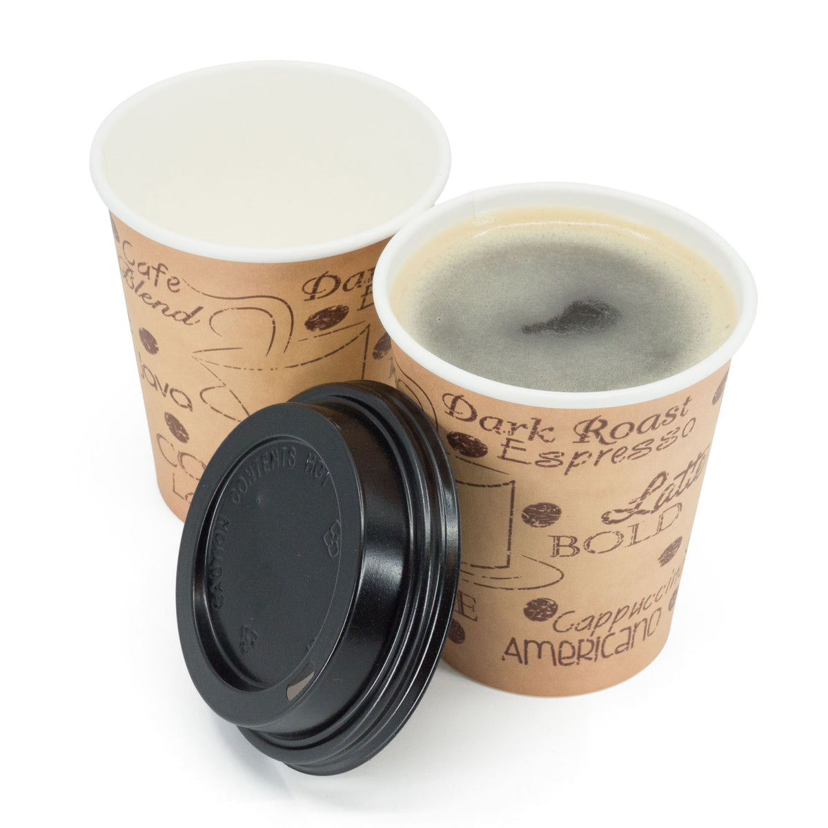 8 oz. Disposable Espresso Paper Hot Cups with Black Lids - 50 sets - Print