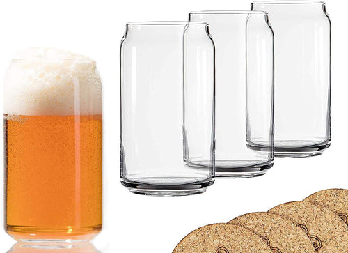 Ecodesign Drinkware Libbey Beer Can Glass with Coasters