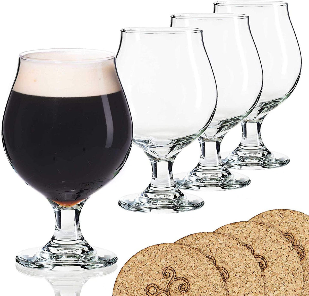 Libbey beer glass in Belgian style with coasters (16 ounces)