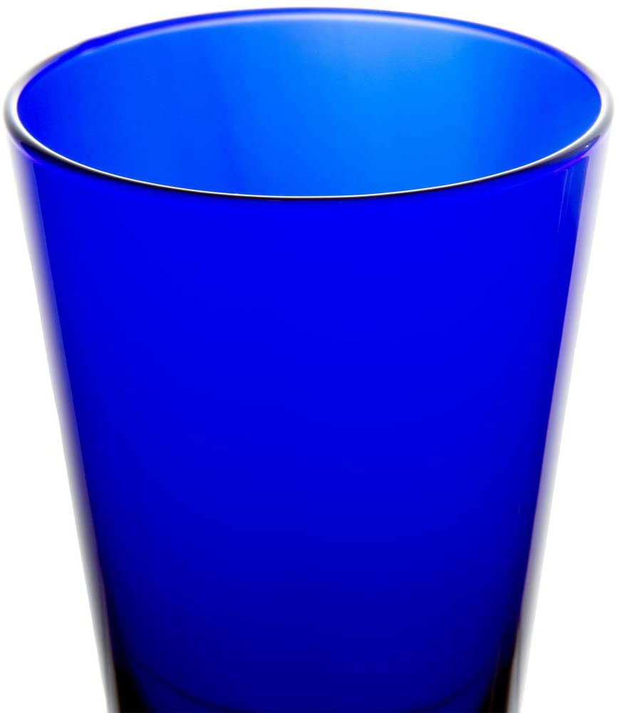 Libbey Cobalt Blue 17.25 Ounce Glasses - Set of 4 - Flare Tumblers w/ Coasters