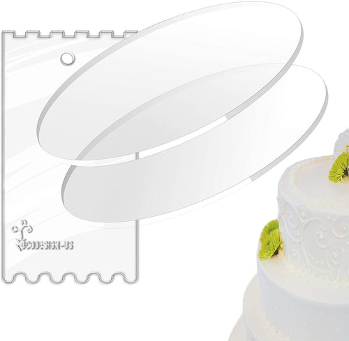 Acrylic Cake Discs - Set of 2 Circles (0.22 inch thick) with Scraper