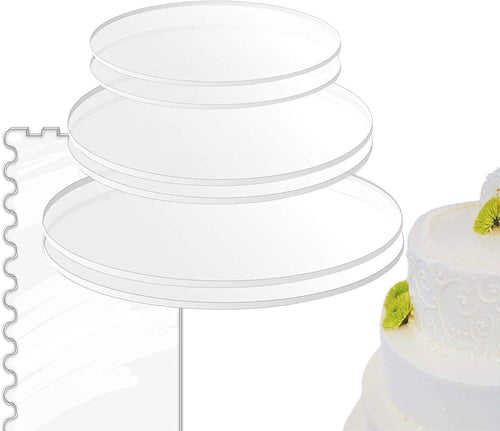 Acrylic Cake Disc Combo Kit - 2 Circles Each Size (0.12 inch thick) with Scraper