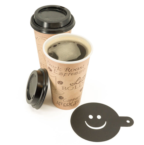 Large 16 Ounce Disposable Paper Coffee Hot Cups with Black Lids and Coffee Stencil - 50 Sets - Coffee Latte Macchiato To Go Large Portion