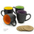 14 Oz. Ceramic Bistro Coffee Mug, Set of 4 Assorted Colors