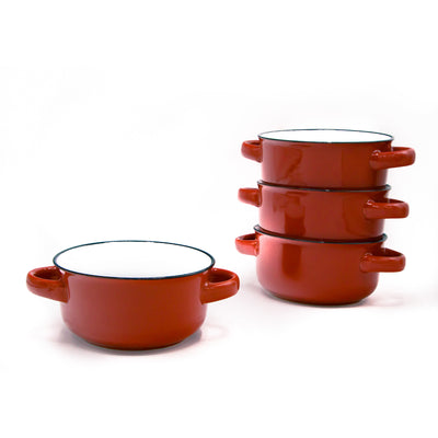 Baking porcelain red 16 oz soup bowls with handles