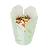 Takeout paper food container with green leaves print