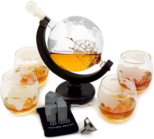 30 oz. Whiskey Decanter Set with Globe Glasses