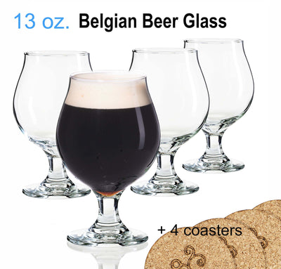 13 Oz. Libbey Beer Glasses Belgian Style Stemmed Tulip with Coasters
