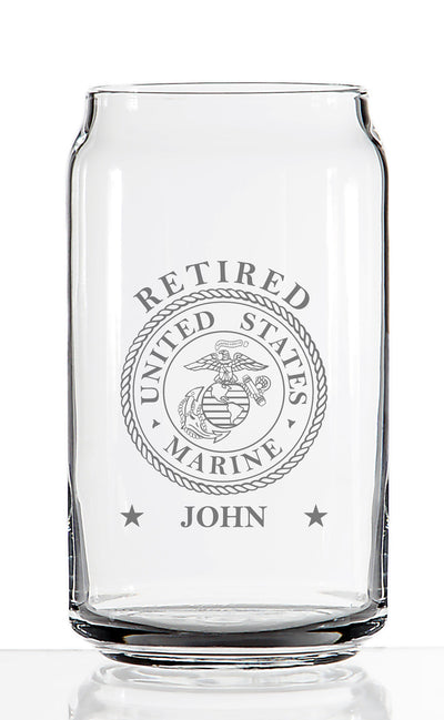 US Marine Retired - Custom Engraved Pint Beer Glass - Can Shaped 16 oz - Military Veteran Retirement Gift
