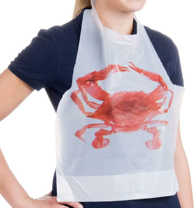 Adult-size Disposable Plastic Crab Bibs (50 pack)