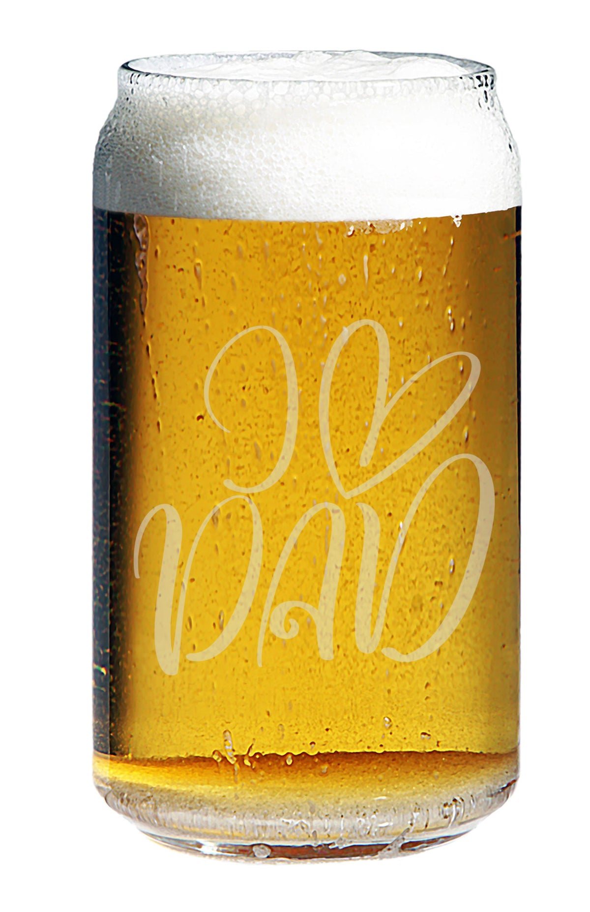 I Love Dad - Engraved Pint Beer Glass, 16 oz - Gift For Dad and Grandpa