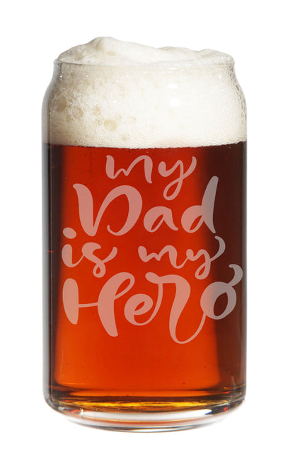 My Dad Is My Hero - Engraved Pint Beer Glass, 16 oz - Gift For Dad and Grandpa