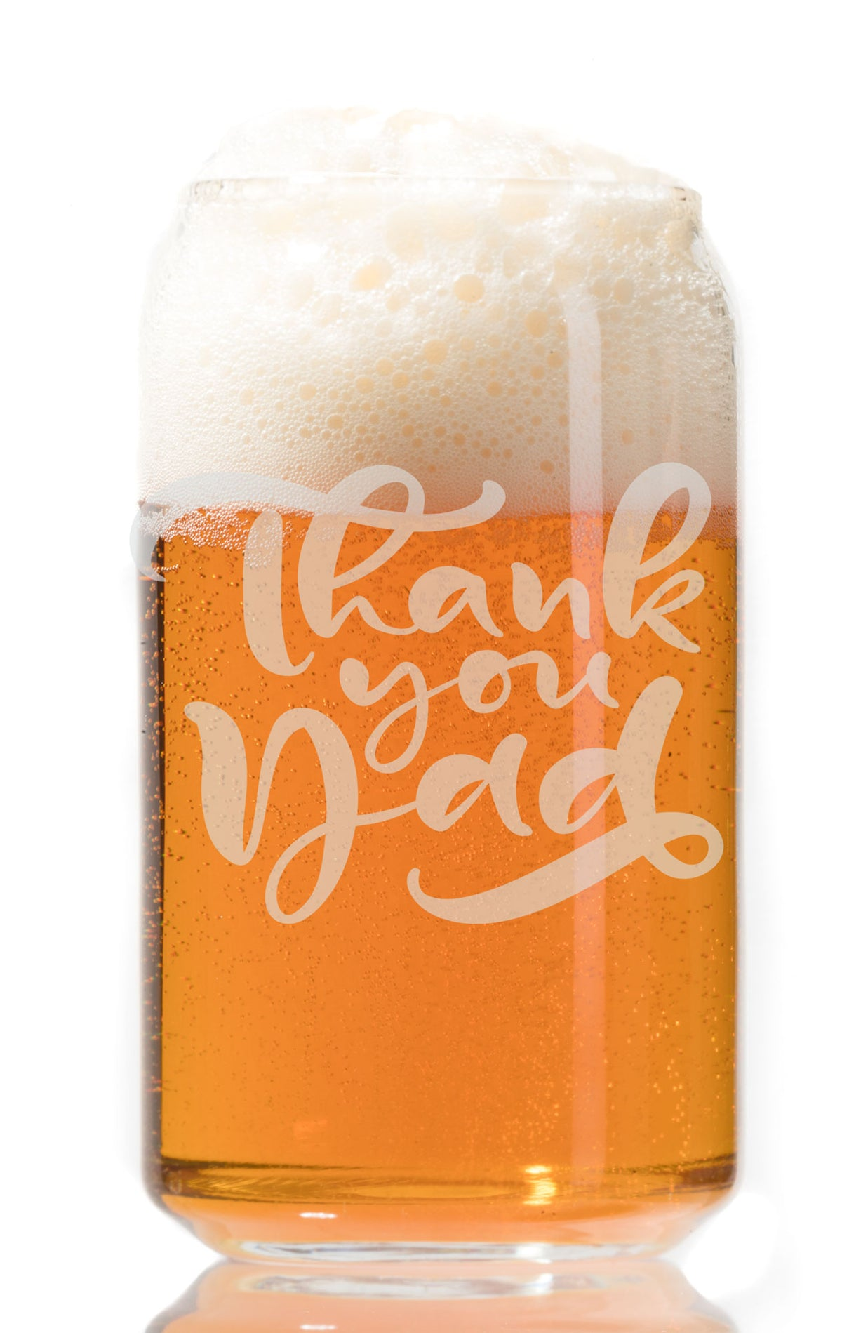Thank You Dad - Etched Pint Beer Glass 16 oz - Perfect Gift For Dad and Grandpa
